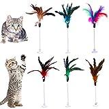 Lainrrew Juguetes para gatos varita, juguetes interactivos de plumas de gato, varilla de metal con resorte para gato con pluma y campana para gatito gato (paquete de 6)
