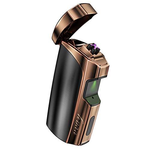 VVAY Briquet Arc Electrique Briquet USB Rechargeable avec Indicateur Puissance, Coup-Vent et Portable sans Gaz/Essence (Noir)