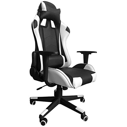Modern-Depo Gaming Chair with Headrest and Lumbar Support, Height Adjustable Swivel Office Chair High-Back Recliner, White