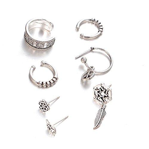 Bluelans 7PCS set acchiappasogni foglia Ear Cuff orecchini donne vintage Jewelry Gift, Lega, Antique Silver, taglia unica