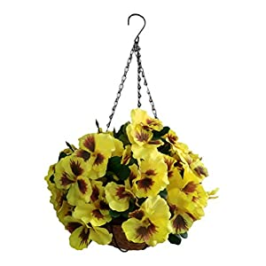 Artificial Flowers Yellow Hanging Basket Silk Pansy Flower