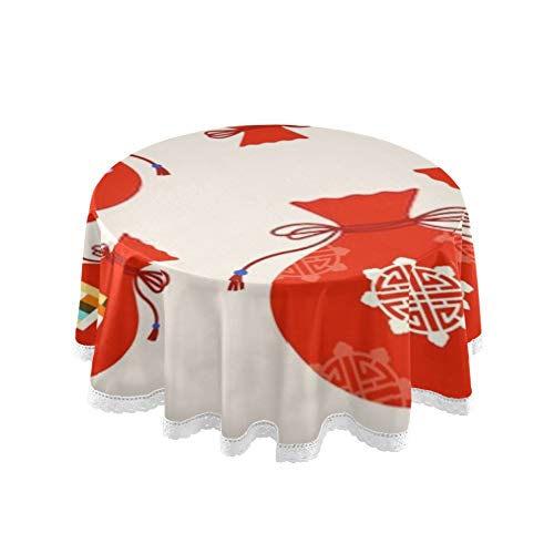 Table Cloth, 60inch Round Korean Traditional Lucky Pocket Table Cover Printing Tablecloth Washable Dining Decorative for Holiday Home Christmas Party Picnic 60inch
