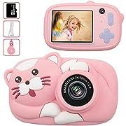 Kinderkamera - 16GB Digitalkamera für Kinder Katze Tiere 4400 Fotos Selfie Photo 1080P HD Videofunktion Mini Kamera 2.4 Zoll Farbdisplay(Rosa)