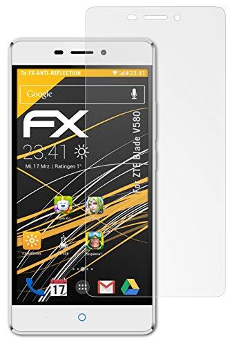 atFolix Panzerfolie kompatibel mit ZTE Blade V580 Schutzfolie, entspiegelnde & stoßdämpfende FX Folie (3X)