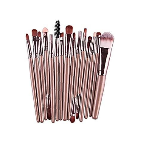 EElabper Cuidado Personal Y Home Productos 15pcs del Maquillaje Cepillos Prima Sintética Cepillo Cosméticos De Maquillaje Corrector De Sombra De Ojos Rosa De Oro