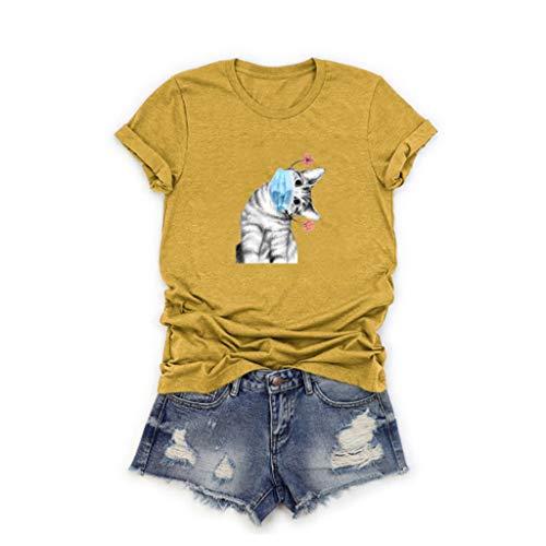 Bumplebee Sommer Oberteile Damen Katzen Tshirt Lustig Rundhals T-Shirt Locker Oversize Shirt mit Druck Mode Lässig Hemd Bluse Tee Tops