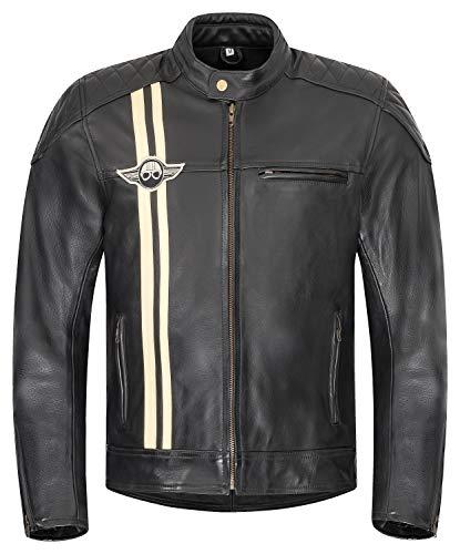 XLS Motorradjacke Classic Stripes für Herren schwarz aus Leder Retro Bikerjacke herausnehmbares Thermofutter Größe XXXL