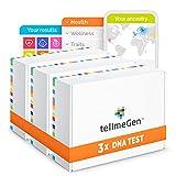 Pack Familiar tellmeGen: 3 Test ADN para Conocer Ancestros, Estudio completo de Salud, Rasgos Personales y Wellness - Prueba de ADN Familiar   +410 Informes Online Actualizados de Por Vida