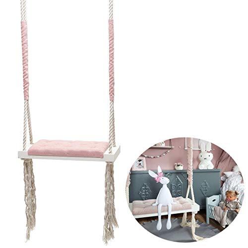 QJJML Indoor schaukel Baby,kinderschaukel Indoor,kinderschaukel Indoor Holz,kinderzimmer Dekoration Unterhaltung massivholzbrett Schwamm pad Baumwolle Seil schaukel,Pink