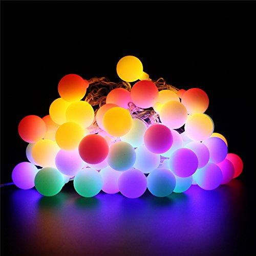 BlueFire 31ft 50 LED Globe String Lights Plug in with Remote Control Timer 8 Lighting Modes Decorative Lighting for Home/Wedding/Christmas(Multi-Color)
