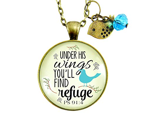 """Gutsy Goodness 24"""" Bible Quote Necklace Under His Wings Refuge Psalm 91 Promise"""