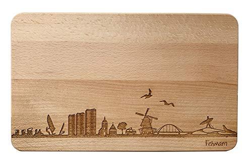 Brotzeitbrett Fehmarn Skyline | Frühstücksbrettchen aus Buche | Holz Schneidbrett | Geschenk mit Gravur | Frühstücksbrett | Schleswig-Holstein (Standard (22x14x1cm), 1. ohne persönliche Gravur)