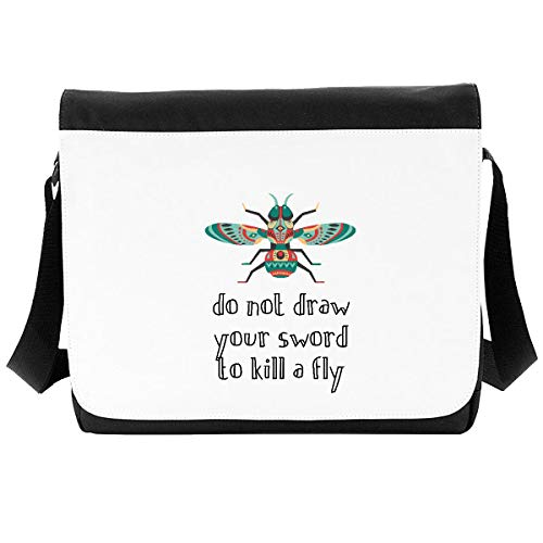 Do Not Draw Your Sword to Kill A Fly Insect Proverb Crossbody Strap Shoulder Bag - Large