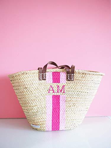 Personalisierbare Korbtasche mit deinem Monogramm - Hellrosa - Pink - Leder Henkel | Strandkorb Monogrammkorb Korb Einkaufskorb Strandtasche Geschenk für Sie