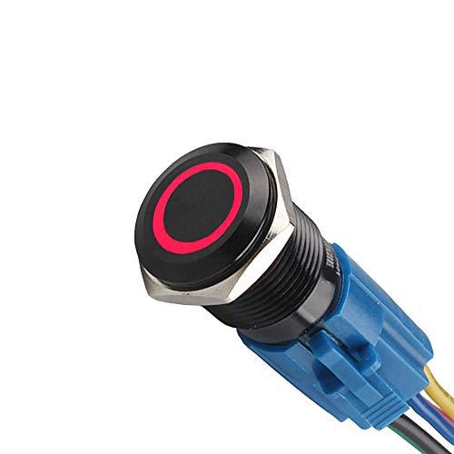 Mintice™ boîtier noir 16mm symbole de puissance Rouge LED lumière Oeil d'ange 12V bouton poussoir voiture interrupteur à bascule en métal Prise de courant