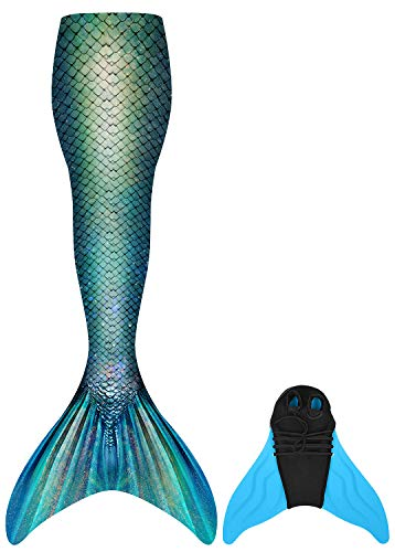 Duosilin Nuova Coda di Sirena con Monopinna Costume da Bagno per Adulti Ragazza 2 Pezzi