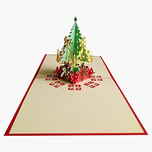 Tarjeta de felicitación 3D con diseño de árbol de Navidad, origami, regalo de invitación para día festivo, Acción de Gracias, cumpleaños, aniversario, fiesta