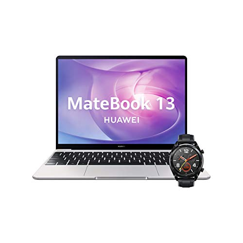 "Huawei Matebook 13 - Ordenador Portátil Ultrafino 13"" 2K (Intel Core i5-10210U, 8GB RAM, 512GB SSD, Windows 10 Home), Mystic Silver + Watch GT Sport Black, Teclado QWERTY Español"