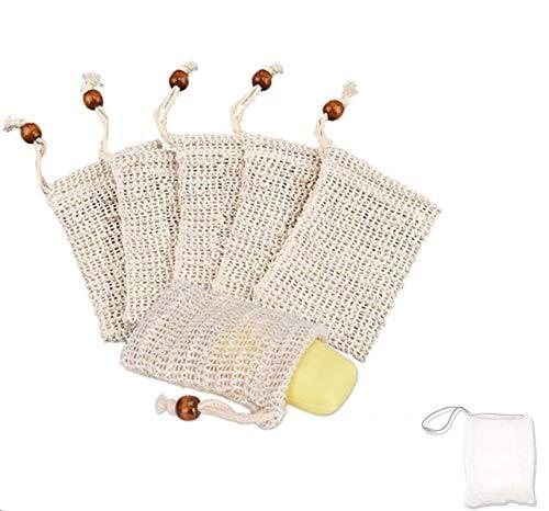 SIISMI 7X Bolsa de jabón, Red de jabón,bolsa de jabón de sisal natural,Para espumar y secar jabones, exfoliación, masaje, bolsas de jabón con cuerda. (6 piezas x sisal | 1 x nylon)