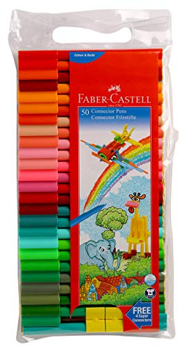 Faber Castell Connector Pens, Multicolor - Pack of 50