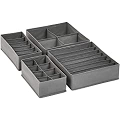 Set of 4 dresser-drawer organizers (2 medium and 2 large), each with internal cell dividers Includes 6-cell bin (for scarves, ties), an 8-cell bin (for underwear, briefs, ties), a 7-cell bin (for bras), and a 4-cell bin (for socks) Made with non-wove...