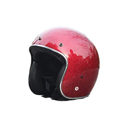 KAISIMYS Casco de Motocicleta de Medio Rostro Abierto, protección contra choques de Motocicleta, Casco de protección de Seguridad, ECE, Medio Casco de Motocicleta con para Hombres y Mujeres, tamaño a