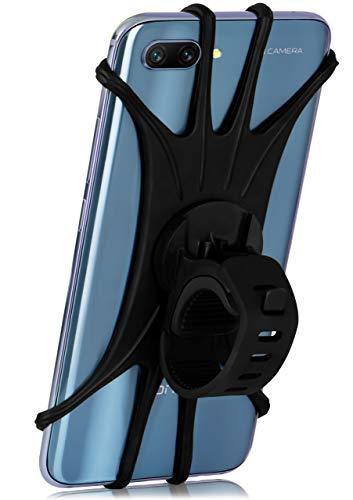 MoEx® Extrem leichte & Flexible Fahrrad Handyhalterung für alle HTC Modelle | Zur Befestigung am Lenker, Oberrohr oder Vorbau - 360 Grad drehbar, Schwarz