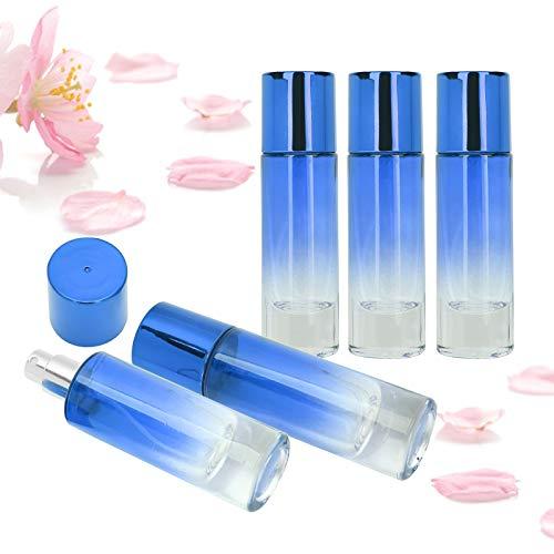 5 Pcs Atomizador Perfume Recargable, Botella de Spray de Perfume Portátil, Botella de Vidrio Transparente con Rociador Bomba y Tapa, 30 Ml Recargable Conveniente Atomizador Vacío(azul)