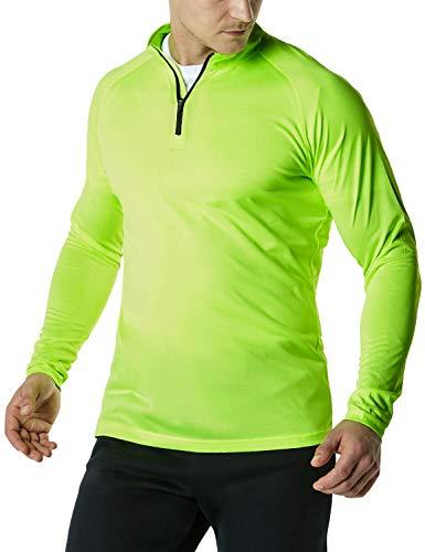 TSLA Men's 1/4 Zip Pullover Long Sleeve Shirt, Quick Dry Performance Running Top, Athletic Quarter Zip T-Shirt, Hyper Dri Quarter Zip(mkz03) - Neon Yellow, 3X - Large