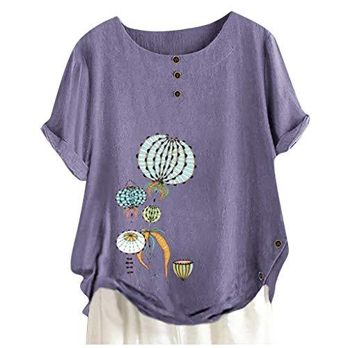 Plus Größe Frauen Bluse Kurz Ärmel Baumwolle T-Shirt Leinen O-Ausschnitt Hemd Drucken Tops