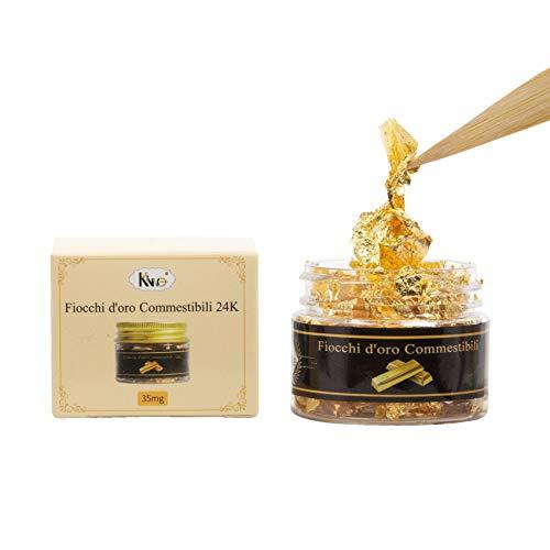 YongBo Essbare Goldschleifen, 24 Karat, Flocken aus echtem Blattgold, 35 mg, Goldschleifen zur Dekoration von Kuchen, Make-up, Kunst und Handwerk