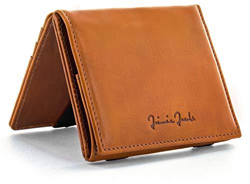 JAIMIE JACOBS Flap Boy - Das Original - Magic Wallet mit Münzfach und RFID-Schutz Magischer Geldbeutel magisches Portmonaie Brieftasche mit Kleingeldfach Herren echtes Leder (Cognac)