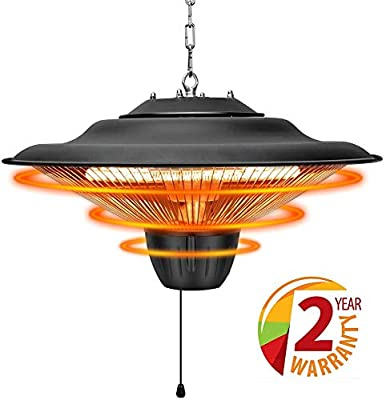 Air Choice Patio Heater - Outdoor Heater, 1500W, Ceiling Mounted Heater for Balcony, Overheat Protection, Tip-Over Shut Off, Halogen Heater for Courtyard, Garage & Patio Use