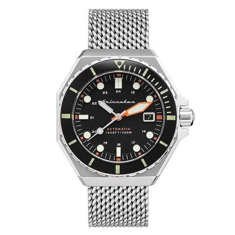 Dumas SP-5081-11 - Orologio da uomo, automatico, 44 mm, quadrante nero, cinturino in acciaio argentato