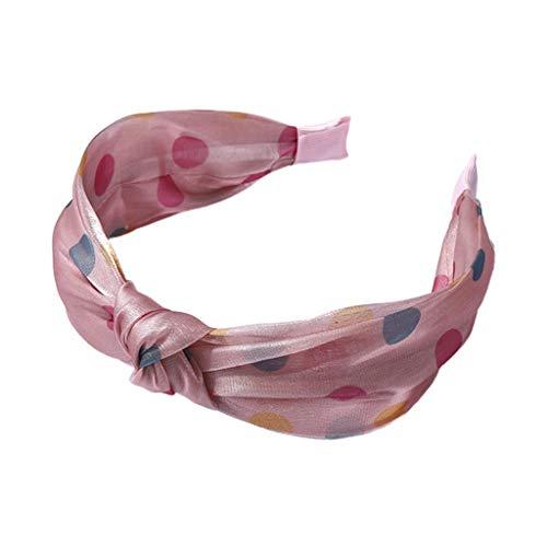 LLLucky Femmes Brillant Twist Noeud Large Bandeau rétro Contraste Couleur Polka Dot Cheveux Cerceau Rose Rose
