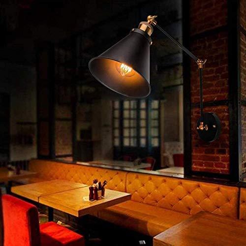 Luz de techo Lámpara De Luz 1 × E27 Vintage Sconce Industrial Iron Wall Light Swing Swing Swing Swing Black Lampshade Retro Loft Funnel Lámpara Shade Sconte Vintage Ajustable Luces De Pared (sin Bulbo