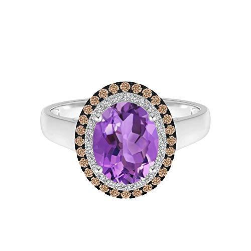 Shine Jewel Anillo de Promesa de Amor y Promesa púrpura Ovalado de 1,5 CTW con Piedras Preciosas de Amatista de Doble halo de Plata 925 (19)