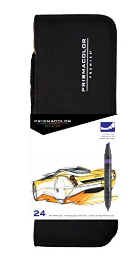 Prismacolor 97 Premier Double-Ended Art Markers, Fine and Chisel Tip, 24-Count with Carrying Case