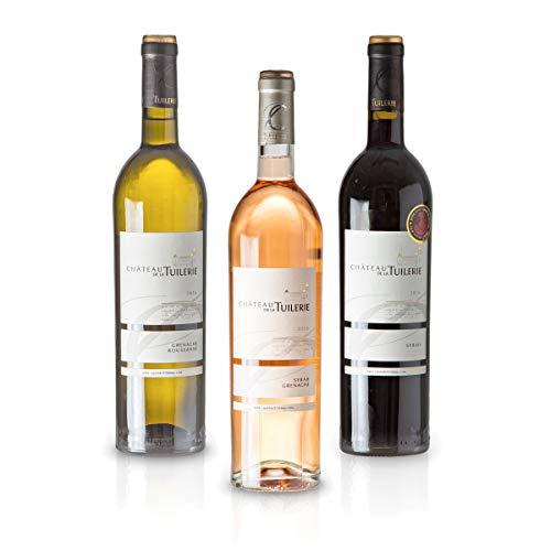 Feinste Weine - Chateau de la Tuilerie - 3er Probepaket Blanc/Rose/Rouge - Costières de Nîmes AOP (3 * 0,75l), Paket mit:3 Flaschen