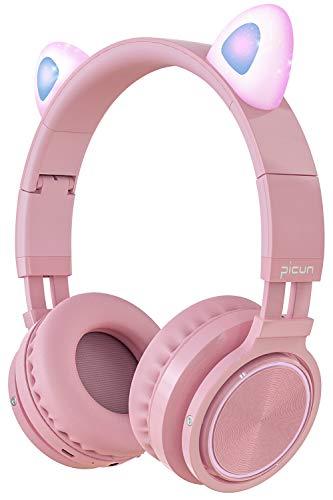 Picun Katzenohren Bluetooth Kopfhörer Kabellos Klappbare Cat Ears Over-Ear Headsets mit Mikrofon LED-Licht für Mädchen Frau - Pink