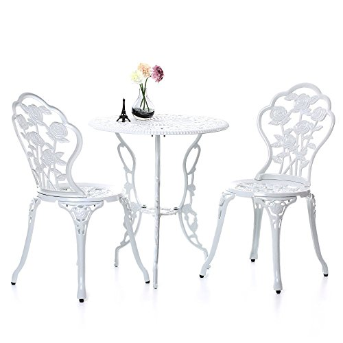 IKAYAA 3PCS Modern Patio Furniture Outdoor Garden Bistro Set Iron Aluminum Balcony Cafe Table & Chairs Set Rose Design, White
