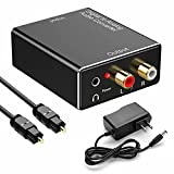 192kHz Digital to Analog Audio Converter- Aluminum Optical to RCA with Optical Cable &Power Adapter, Digital SPDIF TOSLINK to Stereo L/R and 3.5mm Jack DAC Converter for PS4 Xbox HDTV DVD Headphone