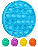 Colplay Pop Pop Fidget Toys,Push Pop Bubble Fidget Sensory Toy,Autism Special Needs Silicone Stress Relief Toy,Great Fidget Toy Sensory Toys Novelty Gifts for Girls Boys Kids Adults(Blue-Round)
