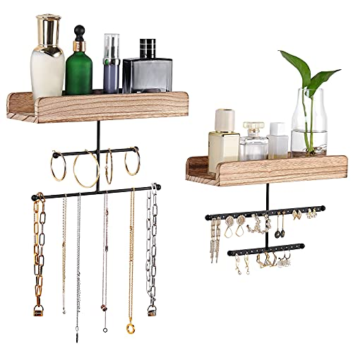 Hanging Wall Mounted Jewelry Organizer with Rustic Wood Jewelry Holder Display for Necklaces Bracelet Earrings & Ring Set of 2 Carbonized Black