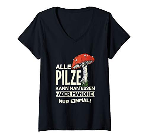 Damen Pilze Sammeln Pilzsammler Glückspilz Fliegenpilz Geschenk T-Shirt mit V-Ausschnitt