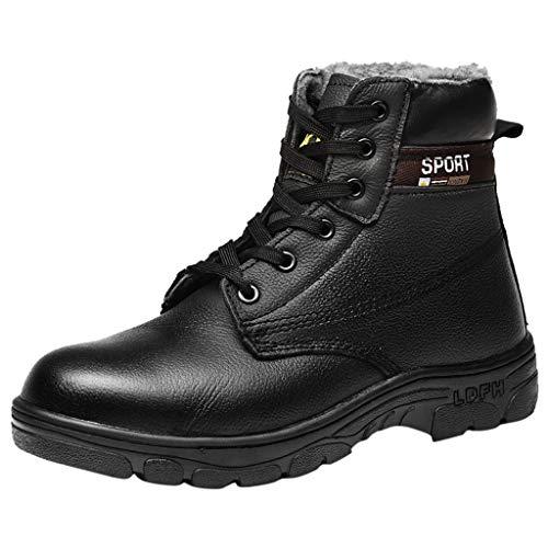 HDUFGJ Herrem Anti-Smashing Piercing Sicherheit Arbeitsschuhe Ankle Short Boots Gefütterte Winterschuhe Outdoor Plus Samt Schneestiefel Arbeitsversicherungsschuhe42 EU(Schwarz)