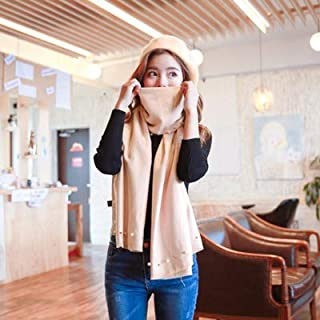 Winter Long Scarf Autumn and Winter Models Black Pearl Scarf Female Models Shawl Dual-use Casual Wild Warm Ladies Scarf Long Hair (Color : Pink) Winter Soft Scarf (Color : Khaki)