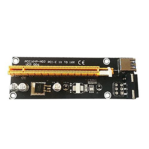 CNmuca Adaptador gráfico PCI-E1X para placa de vídeo 16X Cabo de extensão Placa adaptadora Capacitor de estado sólido USB 3.0 Interface preta tipo 2