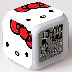 Hello Kitty Maruko 7 Colors Changing Digital Clock LED Alarm Clock Lovely Cartoon Night Light Alarm Clock for Kids,Birthday Gifts,Style 11