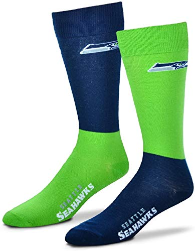 For Bare Feet - NFL 4 Square Mismatch Socken - Seattle Seahawks - Blau - Large (10-13) US